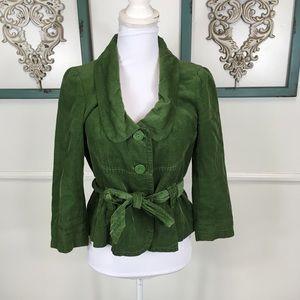 Elevenses Green Corduroy Belted Jacket Size 6